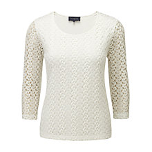 Buy Viyella Crochet Jersey Top, Ivory Online at johnlewis.com