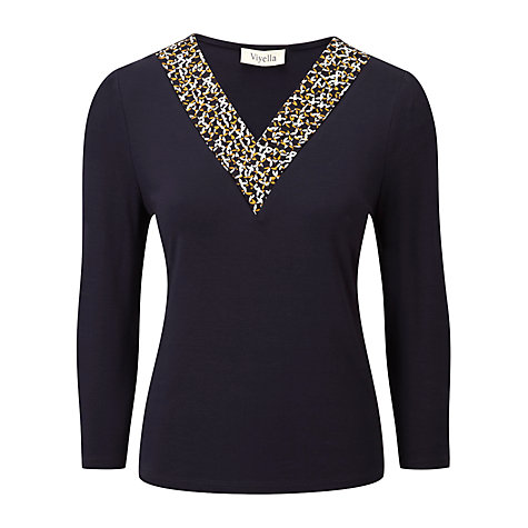 Buy Viyella Petite Star Petal Top, Navy Online at johnlewis.com