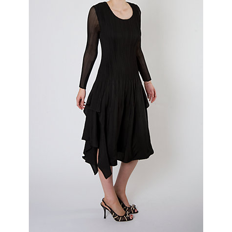 Buy Chesca Crush Pleat Layer Dress, Black Online at johnlewis.com