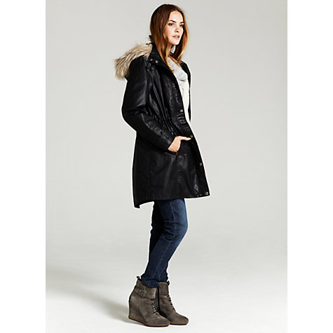 Buy Mint Velvet Drawstring Waxed Hooded Parka Online at johnlewis.com