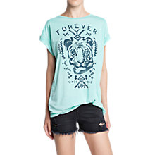 Buy Mango Print T-shirt, Green Online at johnlewis.com
