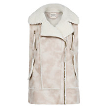 Buy Mango Faux Shearling Gilet, White Online at johnlewis.com