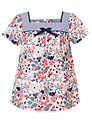 John Lewis Girl Floral Print Cotton Top, Multi