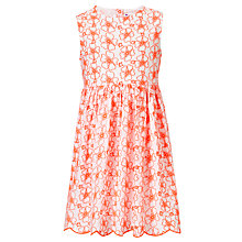 Buy John Lewis Girl Cotton Broderie Dress, White/Coral Online at johnlewis.com