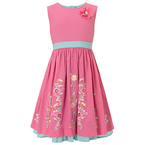 Buy John Lewis Girl Floral Embroidered Dress, Pink/Blue Online at johnlewis.com
