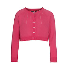 Buy Little Joule Girls' Sansley Cropped Cardigan, Raspberry Online at johnlewis.com