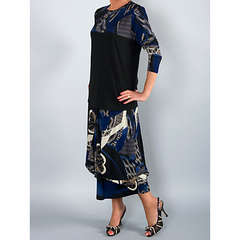 Buy Chesca Printed Yoke Jersey Top, Black/Blue Online at johnlewis.com