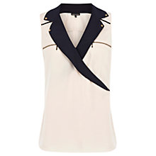 Buy Warehouse Military Wrap Blouse, Cream Online at johnlewis.com