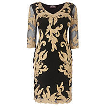Buy Phase Eight Natalya Tapework Dress, Black/Gold Online at johnlewis.com