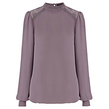 Buy Warehouse Lace High Neck Top, Mink Online at johnlewis.com