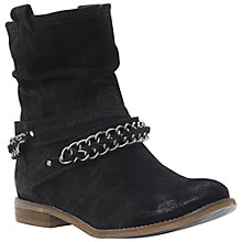 Buy Dune Puff Chain Detail Suede Ankle Boots, Black Online at johnlewis.com