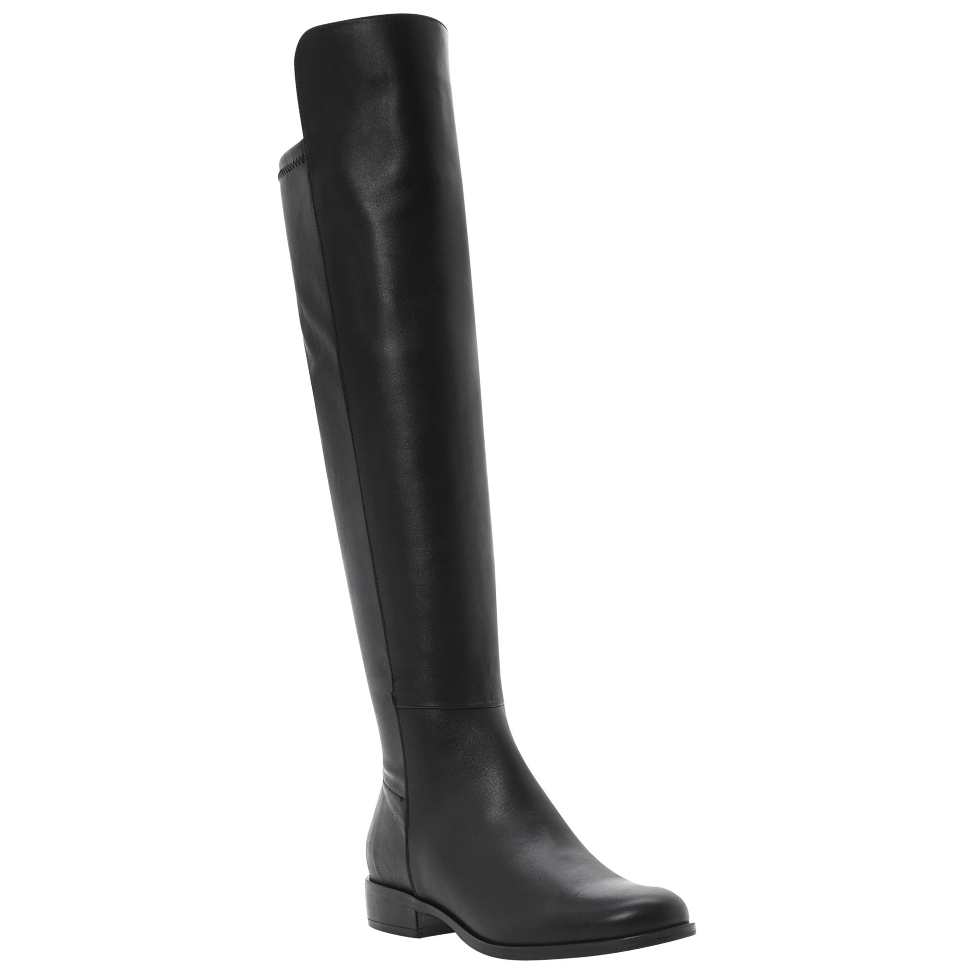 Dune Trish Over The Knee Boots, Black Leather