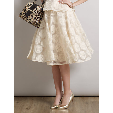 Buy Somerset by Alice Temperley Organza Skater Skirt, Cream Online at johnlewis.com