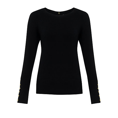 Buy Somerset by Alice Temperley Button Detail Jumper, Black Online at johnlewis.com