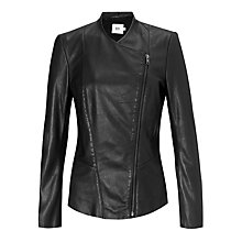 Buy Kin by John Lewis Asymmetric Zipped Leather Jacket, Black Online at johnlewis.com