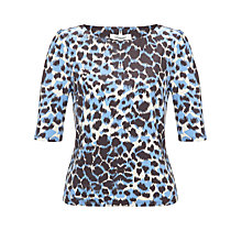 Buy Somerset by Alice Temperley Animal Print Top, Blue Online at johnlewis.com