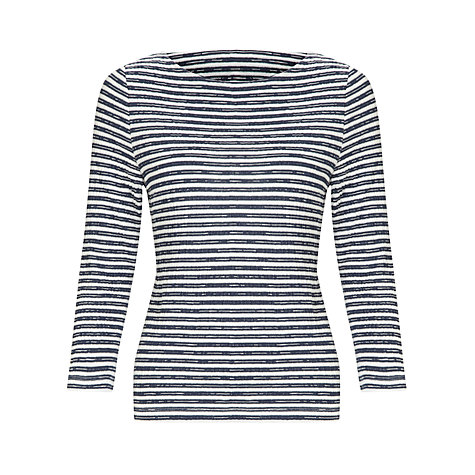 Buy COLLECTION by John Lewis Tyler 3/4 Length Sleeve Striped Top, Navy/White Online at johnlewis.com