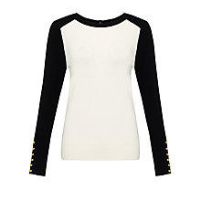 Buy Somerset by Alice Temperley Button Detail Jumper, Black/Cream Online at johnlewis.com