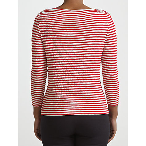 Buy COLLECTION by John Lewis Tyler 3/4 Length Striped Sleeve Top, Port Red/White Online at johnlewis.com