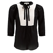 Buy Somerset by Alice Temperley Pleated Blouse, Black/Cream Online at johnlewis.com