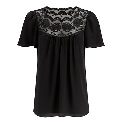 Buy Somerset by Alice Temperley Embroidered Blouse, Black Online at johnlewis.com