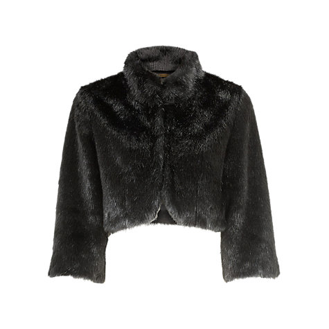 Buy Alexon Faux Fur Cropped Jacket, Black Online at johnlewis.com