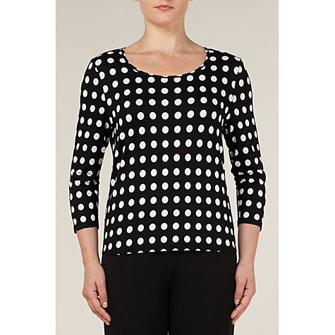 Buy Precis Petite Spot Print Top, Black Online at johnlewis.com