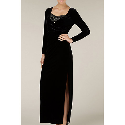 Buy Alexon Velvet Beaded Maxi Dress, Black Online at johnlewis.com