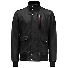 Buy Reiss Temper Leather Bomber Jacket, Black Online at johnlewis.com