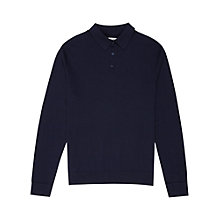 Buy Reiss Gates Merino Wool Knitted Polo Top, Navy Online at johnlewis.com