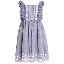 Buy John Lewis Girl Broderie Chambray Dress, Blue Online at johnlewis.com