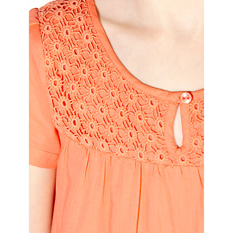 Buy John Lewis Girl Crochet Short Sleeve Top, Orange Online at johnlewis.com