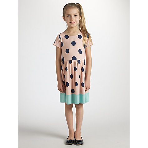 Buy John Lewis Girl Spotted Colour Block Dress, Pink Online at johnlewis.com