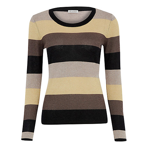 Buy Planet Lurex Stripe Jumper, Gold/Brown Online at johnlewis.com