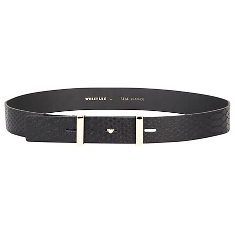 Buy Whistles Wide Waisted Snake Belt, Black Online at johnlewis.com