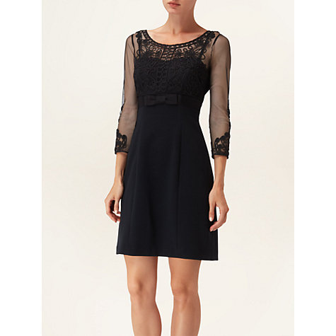 Buy Phase Eight Claudine Embroidered Dress, Black Online at johnlewis.com