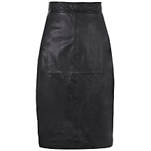 Buy Whistles Suzie Leather Pencil Skirt, Black Online at johnlewis.com