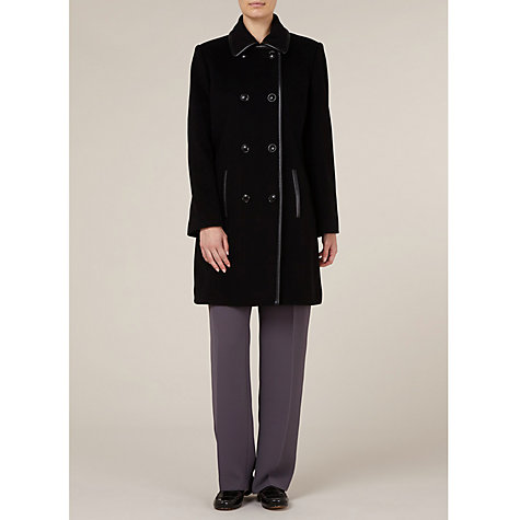 Buy Windsmoor Mid-length Leatherette Trim Coat, Black Online at johnlewis.com