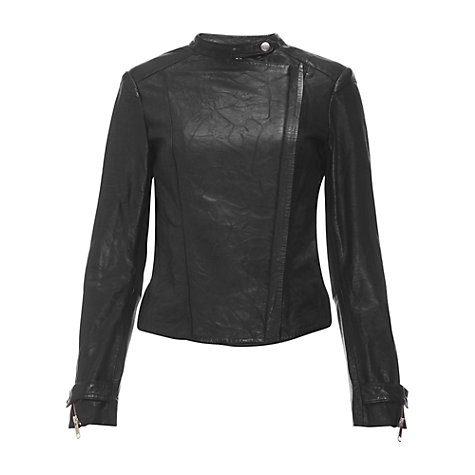 Buy Whistles Maisy Leather Biker Jacket, Black Online at johnlewis.com