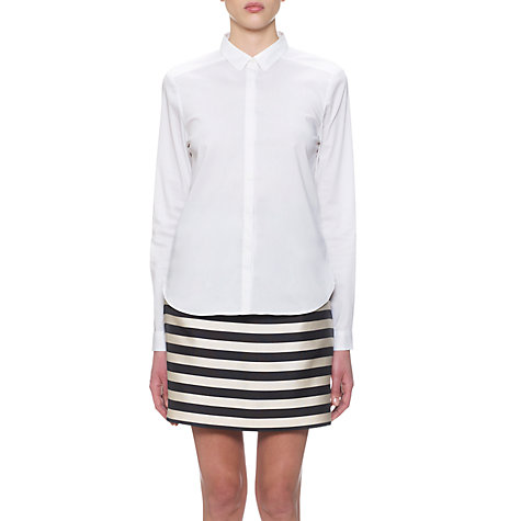 Buy Whistles Stretch Cotton Mix Shirt, White Online at johnlewis.com