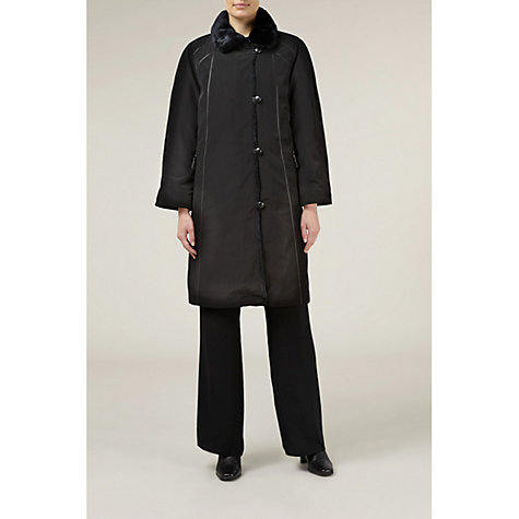 Buy Jacques Vert Fur Collar Mac, Black Online at johnlewis.com