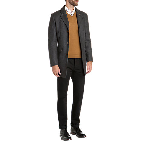 Buy Ted Baker Zainab Herringbone Wool Blend Overcoat, Grey Online at johnlewis.com