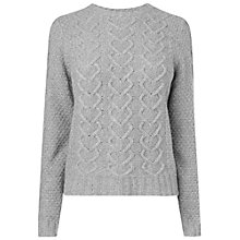Buy Boutique by Jaeger Cable Knit Heart Jumper, Grey Online at johnlewis.com