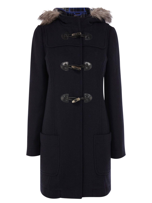 Oasis Duffle Check Hood Coat, Blue