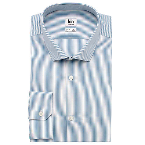 Buy Kin by John Lewis Eldon Fine Stripe Long Sleeve Shirt, Blue Online at johnlewis.com
