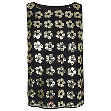 Buy Boutique by Jaeger Sequin Flower Top, Black Online at johnlewis.com
