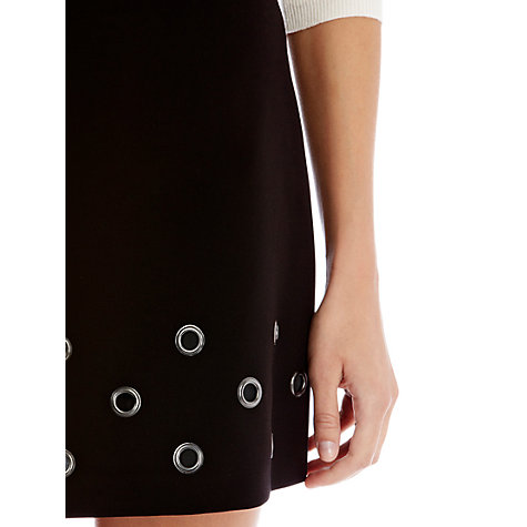 Buy Warehouse Eyelet Mini Skirt, Black Online at johnlewis.com