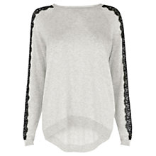 Buy Warehouse Lace Sleeve Jumper Online at johnlewis.com