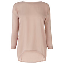 Buy Warehouse Woven Front Jumper, Light Pink Online at johnlewis.com