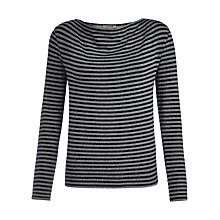 Buy Jigsaw Striped Cowl Top, Black Online at johnlewis.com